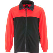 RefrigiWear® Standard Fleece Jacket, Black/Red, 40° Comfort Rating, XL, 0389RBKRDXLG