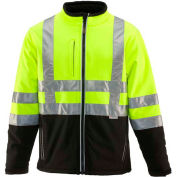 RefrigiWear HiVis Insulated Softshell Jacket, Black/Lime, Class 2, -10°F Comfort Rating, XL