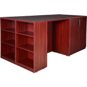 Regency Stand Up 2 Storage Cabinet - 2 Desk Quad with Bookcase End - Mahogany - Legacy Series
