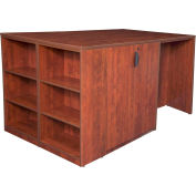 Regency Stand Up Storage Cabinet - 3 Desk Quad with Bookcase End - Cherry - Legacy Series