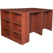Regency Stand Up Desk Quad with Bookcase End - Cherry - Legacy Series