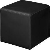 Regency Square Lounge Ottoman - Black Vinyl - Jean Series