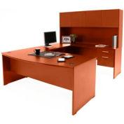 Bow Front U-Shaped Desk w/ Hutch - Cherry