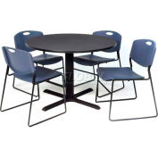 """36"""" Round Table with Wide Plastic Chairs - Gray Table / Blue Chairs"""