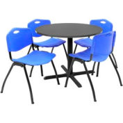 """36"""" Round Table with Plastic Chairs - Mocha Walnut Table / Blue Chairs"""