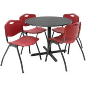 """36"""" Round Table with Plastic Chairs - Mocha Walnut Table / Burgundy Chairs"""