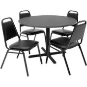 """42"""" Round Table with Vinyl Chairs - Gray Table / Black Chairs"""