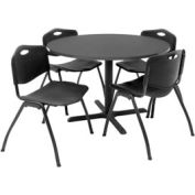 "Regency Table and Chair Set - 42"" Round - Gray Table / Black Plastic Chairs"