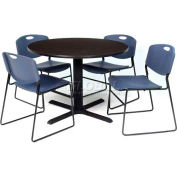"Regency Table and Chair Set - 42"" Round - Mocha Walnut Table / Blue Wide Plastic Chairs"
