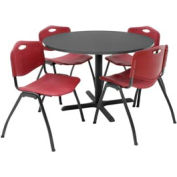 """42"""" Round Table with Plastic Chairs - Mocha Walnut Table / Burgundy Chairs"""