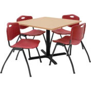 """36"""" Square Table with Plastic Chairs - Beige Table / Burgundy Chairs"""