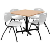 """36"""" Square Table with Plastic Chairs - Beige Table / Gray Chairs"""