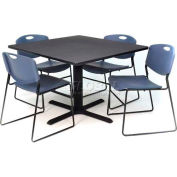 "Regency Table and Chair Set - 36"" Square - Gray Table / Blue Wide Plastic Chairs"