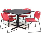 """36"""" Square Table with Wide Plastic Chairs - Gray Table / Burgundy Chairs"""