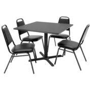 """36"""" Square Table with Vinyl Chairs - Mocha Walnut Table / Black Chairs"""