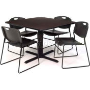 """Regency Table and Chair Set - 36"""" Square - Mocha Walnut Table / Black Wide Plastic Chairs"""