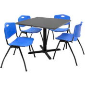 """Regency Table and Chair Set - 36"""" Square - Mocha Walnut Table / Blue Plastic Chairs"""