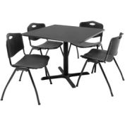 """Regency Table and Chair Set - 36"""" Square - Mocha Walnut Table / Black Plastic Chairs"""