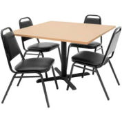 """42"""" Square Table with Vinyl Chairs - Beige Table / Black Chairs"""