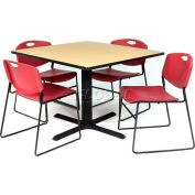 """42"""" Square Table with Wide Plastic Chairs - Beige Table / Burgundy Chairs"""
