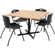 """Regency Table and Chair Set - 42"""" Square - Beige Table / Black Plastic Chairs"""