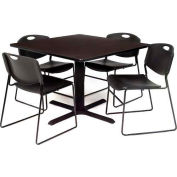 "Regency Table and Chair Set - 42"" Square - Gray Table / Black Plastic Chairs"