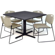 """42"""" Square Table with Wide Plastic Chairs - Gray Table / Gray Chairs"""