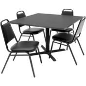"""42"""" Square Table with Vinyl Chairs - Mocha Walnut Table / Black Chairs"""