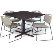 """42"""" Square Table with Wide Plastic Chairs - Mocha Walnut Table / Gray Chairs"""