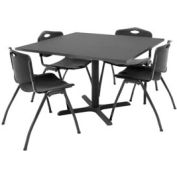 "Regency Table and Chair Set - 42"" Square - Mocha Walnut Table / Black Plastic Chairs"