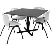 """42"""" Square Table with Plastic Chairs - Mocha Walnut Table / Gray Chairs"""