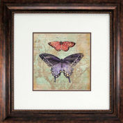 "Crystal Art Gallery - Vintage Butterflies 1 - 26""W x 26""H, Double Mat Framed Art"