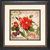 "Crystal Art Gallery - Red Floral Postcard 1 - 19-3/4""W x 19-3/4""H, Single Mat Fillet"