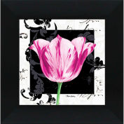 "Crystal Art Gallery - Damask Tulip 1 - 16""W x 16""H, Straight Fit Framed"