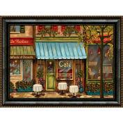 "Crystal Art Gallery - Framed Canvas w/Foil Café Scene - 40""W x 30""H, Straight Fit Framed"