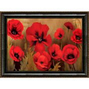 "Crystal Art Gallery - Framed Canvas w/Foil Poppies - 40""W x 30""H, Straight Fit Framed"