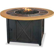 Uniflame® Propane Gas Outdoor Firebowl Slate And Faux Wood Mantel GAD1362SP