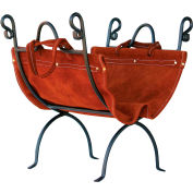 UniFlame® Log Rack W-1196 With Suede Leather Carrier, Olde World Iron Finish