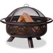 """Uniflame® 36"""" Diameter Round Oil Rubbed Bronze Outdoor Firebowl With Geometric Design"""