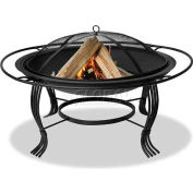 """Uniflame® 34-5/8"""" Diameter Round Black Wrought Iron Outdoor Firebowl With Outer Ring"""