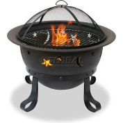 """Uniflame® 30"""" Diameter Round Oil Rubbed Bronze Outdoor Firebowl With Star and Moon Cutouts"""