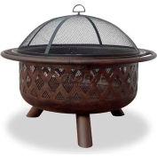 "Uniflame® 36"" Diameter Round Oil Rubbed Bronze Outdoor Firebowl With Lattice Design"