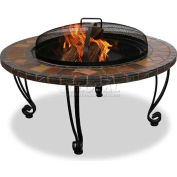 """Uniflame® 34"""" Diameter Round Slate/Marble Outdoor Firebowl With Copper Accents"""