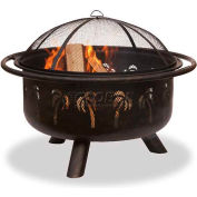 """Uniflame® 36"""" Diameter Round Oil Rubbed Bronze Outdoor Firebowl With Palm Tree Design"""