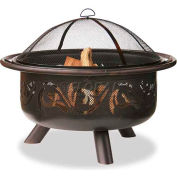 """Uniflame® 36"""" Diameter Round Oil Rubbed Bronze Outdoor Firebowl With Swirl Design"""