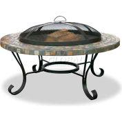 "Uniflame® 34"" Diameter Round Slate Tile/Copper Outdoor Firebowl"