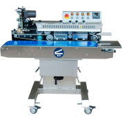 Sealer Sales Horizontal Continuous Band Sealer w/ Ink Ribbon Printing, Tilting Head, Stainless Steel
