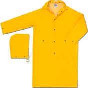 MCR Safety 200CX2 Classic Rain Coat, 2X-Large, .35mm, PVC/Polyester, Detachable Hood, Yellow