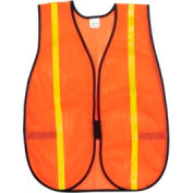"Safety Vests, Polyester Mesh, 3/4"" Lime Reflective Stripes, Orange, RIVER CITY V211R, 12/Case"