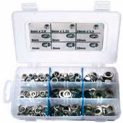 Finished Hex Nuts, USS, Zinc Plated Steel, Small Drawer Assortment, 8 Items, 450 Pieces
